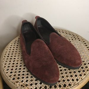 Burgundy Suede loafer flats
